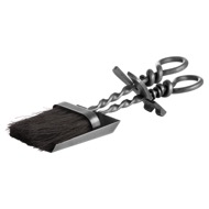 Silver Hearth Tidy Set With Hand Turned Loop Handle