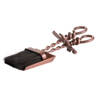 Copper Finish Hearth Tidy Set With Hand Turned Loop Handle