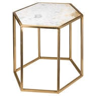 Hexagonal Brass And Marble Table