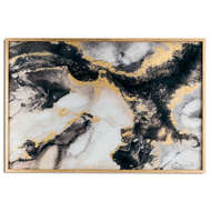 Large Mable Effect Black And Gold Glass Image In Gold Frame