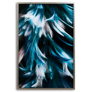 Teal Feather Glass Image In Silver Frame