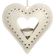 Cream  Metal  Hanging  Heart  Tealight  Holder