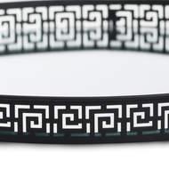 Set Of Two Circular Aztec Black Mirrored Trays - Thumb 2
