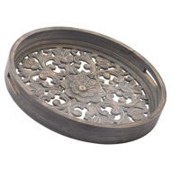 Set Of 2 Carved Grey Wash Louis Trays