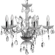Glass  Bowl  &  Crystal  Drop  Chandelier