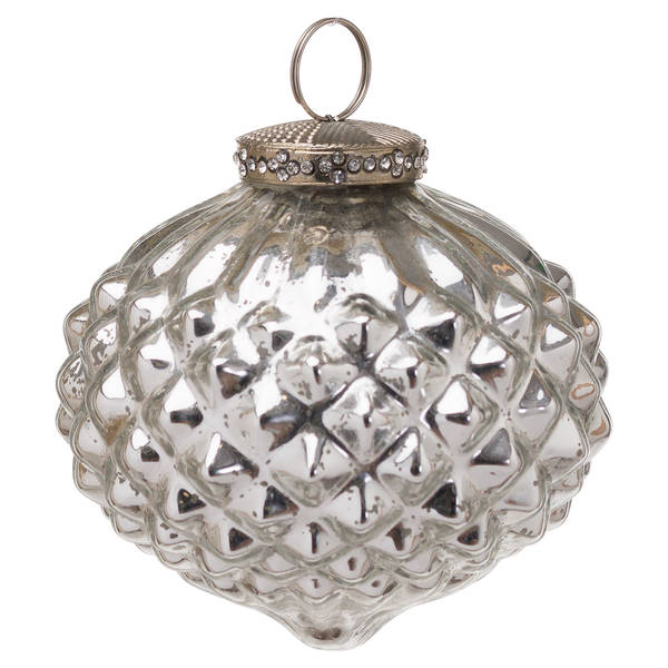 The Noel Collection Silver Textured Large Hanging Bauble