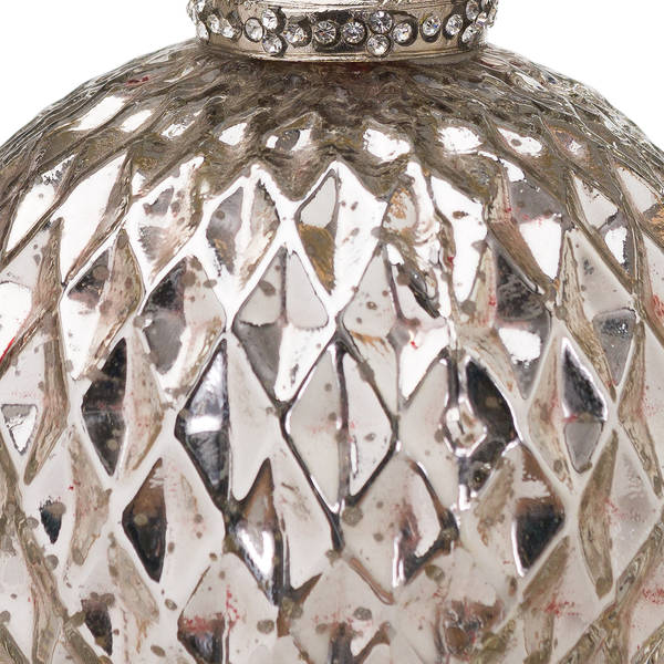 The Noel Collection Silver Large Honeycomb Bauble - Thumb 2