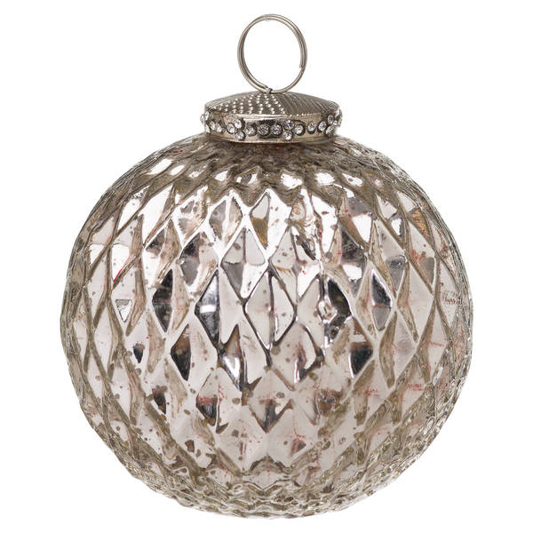 The Noel Collection Silver Large Honeycomb Bauble - Thumb 1