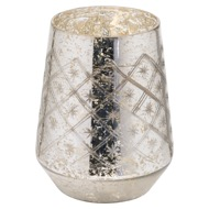 The Noel Collection Silver Foil Effect Medium Candle Holder