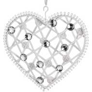 Large  White  Diamante  Hanging  Heart