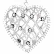 Medium  White  Diamante  Hanging  Heart