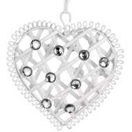 Small  White  Diamante  Hanging  Heart