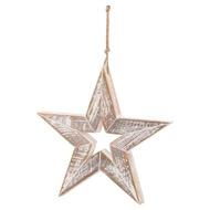 Antique White  Wooden Sparkle Star