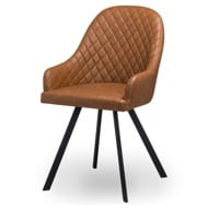 Stockholme Chequered Tan Dining Chair - Thumb 1