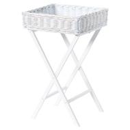 Large White Wash Wicker Basket Butler Tray
