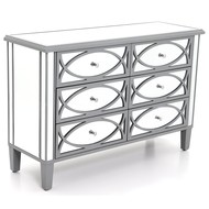 Paloma Collection Mirrored Six Drawer Chest