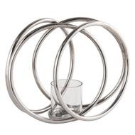 Farrah Collection Silver XL Four Ring Pillar Candle Holder
