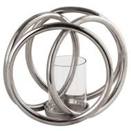 Farrah Collection Silver Four Ring  Pillar Candle Holder