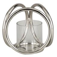 Farrah Collection Silver Three Ring  Pillar Candle Holder