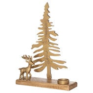 Large Cast Tree And Stag Candle Holder Ornament