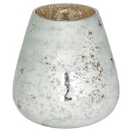 The Noel Collection White Forest Scene Large Candle Holder