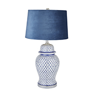 Malabar Blue And White Ceramic Lamp With Blue Velvet Shade
