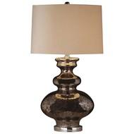 Francis Metallic Glass Lamp With Velvet Shade - Thumb 1
