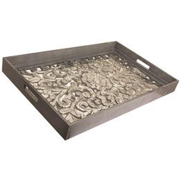 Large Rectangular Carved Metallic Hampton Tray