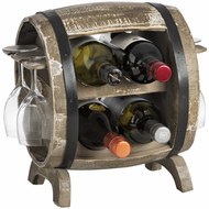 Loir  Barrel  Wine  Bottle  And  Glass  Holder