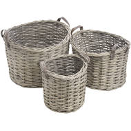 Set  Of  3  Round  Wicker  Storage  Baskets