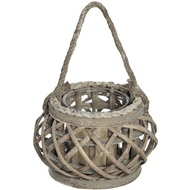 Glass Bowl Hanging Lantern with Rope Handle