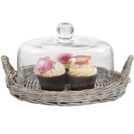 Wicker Tray with Glass Dome
