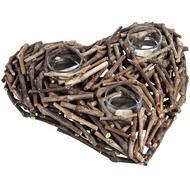 Rustic  Heart  Three  Tea  Light  Holder