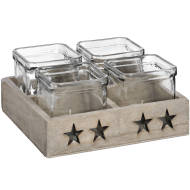 4 Star Glass Tea Light Holder