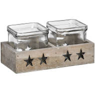 2 Star Glass Tea Light Holder