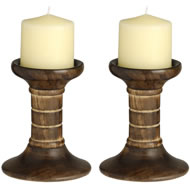 Pair  Of  Wooden  Candle  Stands