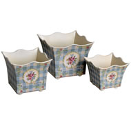 Set  Of  3  Vintage  Rose  Pattern  Planters