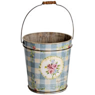 Vintage  Rose  Wooden  Pail