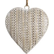 Assorted  Patterned  Metal  Grey  Hanging  Heart