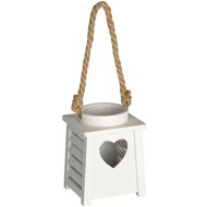 White  Wooden  Heart  Tea  Light  Holder  Lantern