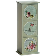 3  Drawer  Floral  Mini  Chest  With  Tiles