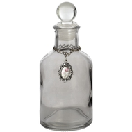Smoked  Glass  Round  Perfumier  Bottle  Jar  With  Pendant