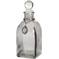 Smoked  Glass  Square  Perfumier  Bottle  Jar  With  Pendant