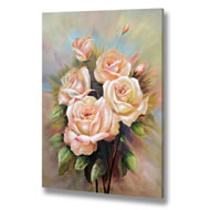 Handpainted  Bunch  Of  Pink  Roses  Canvas