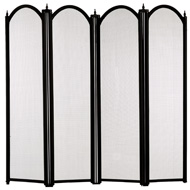 Medium  Size  Four  Fold  Fire  Screen  In  Black