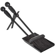 Traditional  Black  Ball  Top  Hearth  Tidy  Set
