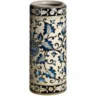 Ocean  Blue  Floral  Patterned  Umbrella  Stand