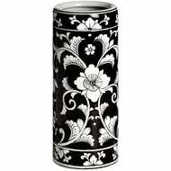 Black  And  White  Floral  Umbrella  Stand