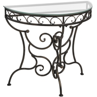 Iron  Half  Moon  Hall  Table  With  Glass  Top