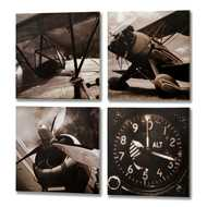 Set  Of  4  Printed  Aeroplane  Canvases